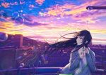 1girl black_hair blue_eyes bubble cigarette cityscape clouds jacket lighter looking_to_the_side open_clothes open_jacket outdoors para_sitism solo standing sunrise