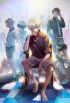 6+boys absurdres barefoot black_eyes black_hair chair eyepatch glasses heterochromia highres kaneki_ken kyuuba_melo looking_at_viewer lying multiple_boys multiple_persona necktie on_stomach red_eyes sasaki_haise shirt short_hair shorts sitting sweater t-shirt tokyo_ghoul tokyo_ghoul:re white_hair