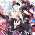 2boys :d ;d black_hair blue_eyes blue_flower blue_rose bow bowtie brown_eyes cape carrying crown flower katsuki_yuuri kuroemon male_focus multiple_boys one_eye_closed open_mouth petals princess_carry rose silver_hair smile tuxedo viktor_nikiforov yuri!!!_on_ice