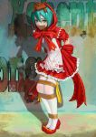 >_< 1girl apron aqua_hair arms_behind_back blush bound bound_legs bow covering_mouth dress frilled_dress frills full_body gag graffiti green_eyes hair_between_eyes hatsune_miku highres hood_up improvised_gag jianchile_san_tian large_bow leaning_forward legs_together little_red_riding_hood looking_at_viewer project_diva_(series) puffy_short_sleeves puffy_sleeves red_bow red_dress red_footwear ribbon ribbon-trimmed_clothes ribbon-trimmed_dress ribbon_trim shadow shoes short_hair short_sleeves solo standing tape tape_gag thigh-highs tied_up vocaloid wall white_apron white_legwear yellow_ribbon