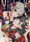 2girls ayano_(ue083282) black_eyes black_hair detached_sleeves flower grey_hair hair_flower hair_ornament idolmaster idolmaster_cinderella_girls idolmaster_cinderella_girls_starlight_stage japanese_clothes kimono kobayakawa_sae long_hair multiple_girls shiomi_shuuko short_hair smile