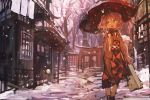 1girl absurdres architecture bag bangs breath commentary east_asian_architecture eyebrows_visible_through_hair hair_between_eyes hair_bobbles hair_ornament handbag highres japanese_clothes kaamin_(mariarose753) kantai_collection kimono obi open_mouth pink_eyes pink_hair sash sazanami_(kantai_collection) scarf short_hair snow snowing solo torii tree twintails umbrella walking wide_sleeves