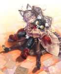 >_< 1girl :d ahoge animal_ears bettle_(b_s_a_n) black_cat blush_stickers book brown_coat brown_footwear brown_hair brown_skirt cat cat_ears character_request coat drawing eyebrows_visible_through_hair fang from_above full_body furry gloves hair_between_eyes hug loafers long_sleeves looking_away on_ground open_mouth pantyhose red_footwear red_gloves sennen_sensou_aigis shoes side_ponytail silhouette sitting skirt slit_pupils smile sparkle v-shaped_eyebrows wooden_floor yellow_sclera