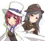 2girls :d bangs blush bow brown_capelet brown_eyes brown_hat cape capelet closed_mouth collared_shirt eyebrows_visible_through_hair grey_hair hair_bow hat highres long_hair long_sleeves looking_at_viewer merry_(168cm) multiple_girls necktie open_mouth princess_principal purple_bow purple_hair purple_shirt shirt smile sophie_mackenzie star stephanie_(princess_principal) striped striped_bow sweat top_hat violet_eyes white_background white_cape white_coat white_hat white_neckwear