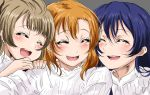 3girls bangs blue_hair blush brown_eyes closed_eyes closed_mouth commentary_request grey_hair hair_between_eyes hands_on_another's_shoulders highres kousaka_honoka long_hair looking_at_viewer love_live! love_live!_school_idol_project minami_kotori multiple_girls open_mouth orange_hair sandwiched shirt shogo_(4274732) simple_background smile sonoda_umi upper_body white_shirt