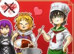 3girls :3 anchor_symbol apron ascot black_hair blonde_hair border brown_hair buttons chamaji chef_hat chef_uniform closed_eyes commentary_request crossed_out curry curry_rice dress eyebrows_visible_through_hair food gradient_hair green_eyes hair_between_eyes hand_on_hip hat heart hijiri_byakuren ladle layered_dress long_hair long_sleeves meat multicolored_hair multiple_girls murasa_minamitsu neck_ribbon open_mouth plate pot purple_hair ribbon rice sailor_collar short_hair short_sleeves simple_background speech_bubble spoon tongue tongue_out toramaru_shou touhou twitter_username