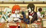 2boys 2girls :d arjuna_(fate/grand_order) blue_hair bowl brown_hair chopsticks closed_eyes commentary_request cup dark_skin dark_skinned_male drinking_glass envy eyebrows_visible_through_hair fan fate/grand_order fate_(series) feeding folding_fan food fujimaru_ritsuka_(female) gauntlets green_hair grey_jacket hair_between_eyes holding indoors jacket japanese_clothes kimono kiyohime_(fate/grand_order) long_hair long_sleeves mi_(pic52pic) multiple_boys multiple_girls one_side_up open_mouth orange_eyes plate redhead rice smile tattoo white_kimono wide_sleeves yan_qing_(fate/grand_order)