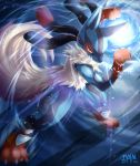 arm_up artist_name aura_sphere charging claws commentary_request dated energy_ball fighting_stance full_body fur glowing glowing_eye hand_up highres ivan_(ffxazq) legs_apart lens_flare light_particles light_trail looking_at_viewer lucario mega_lucario mega_pokemon motion_blur no_humans paws pokemon pokemon_(creature) red_eyes serious signature solo spikes standing tail wind