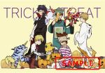 5boys agumon axe black-framed_eyewear black_cape black_claws black_eyepatch black_eyes black_footwear black_hair black_jacket black_neckwear blonde_hair blue_eyes boots bow bowtie brown_background brown_footwear brown_hair brown_pants cape claws closed_eyes cosplay cravat creature digimon digimon_adventure_tri. eyepatch fang frankenstein's_monster frankenstein's_monster_(cosplay) gabumon ghost_costume glasses gomamon green_eyes grey_footwear halloween halloween_costume hat hook_hand horn insect ishida_yamato izumi_koushirou jacket jiangshi kido_jou looking_at_viewer multiple_boys official_art ofuda orange_hair pants patamon pirate_costume pirate_hat postcard pumpkin pumpmon red_eyes red_neckwear redhead sample sandals scar semi-rimless_eyewear shirt sleeveless_jacket smile spiky_hair squatting standing striped striped_pants striped_shirt tagme tail takaishi_takeru tentomon trick_or_treat uki_atsuya vampire_costume white_shirt yagami_taichi