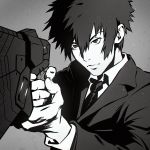 1boy aiming closed_mouth dominator_(gun) finger_on_trigger fingernails foreshortening grey_background greyscale gun handgun holding holding_gun holding_weapon ilya_kuvshinov jacket kougami_shin'ya long_sleeves monochrome necktie own_hands_together pistol psycho-pass shirt sidelocks simple_background solo upper_body weapon white_shirt wing_collar