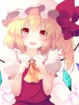 1girl ascot blonde_hair blush commentary_request eyebrows_visible_through_hair fingers_together flandre_scarlet gengetsu_chihiro gradient gradient_background hat heart looking_at_viewer mob_cap open_mouth pink_background puffy_short_sleeves puffy_sleeves red_eyes red_skirt red_vest short_hair short_sleeves side_ponytail skirt smile solo touhou upper_body vest white_background wings yellow_neckwear