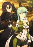 1boy 1girl absurdres anti-materiel_rifle aqua_eyes aqua_hair black_hair black_shorts breastplate breasts carrying cleavage closed_mouth cowboy_shot cropped_jacket fingerless_gloves five-seven_(gun) gloves green_jacket gun handgun highres jacket kirito kirito_(sao-ggo) long_hair long_sleeves looking_at_viewer medium_breasts newtype official_art outdoors pgm_hecate_ii rifle scarf sekizaki_masaya shinon_(sao) shiny shiny_hair short_hair short_hair_with_long_locks short_shorts shorts shoulder_carry smile sniper_rifle standing sword_art_online trigger_discipline violet_eyes weapon