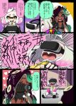 +++ +_+ 2girls ^_^ bare_arms bare_shoulders bike_shorts breasts breath camcorder cleavage closed_eyes comic cropped_vest crown dark_skin domino_mask dress drooling emphasis_lines fangs fingerless_gloves gloom_(expression) gloves green_hair heart heavy_breathing high_collar highres hime_(splatoon) holding iida_(splatoon) mask mole mole_under_mouth multicolored_hair multiple_girls octarian open_mouth pantyhose pantyhose_under_shorts pink_hair pink_legwear purple_hair recording scared screaming short shorts_under_dress sleeveless sleeveless_dress smile splatoon splatoon_2 suction_cups sweat tentacle_hair translation_request trembling usa_(dai9c_carnival) vest virtual_reality vr_visor white_hair yellow_eyes yellow_pupils zipper_pull_tab