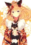 1girl animal_ears blonde_hair brown_eyes dog eyebrows_visible_through_hair floating_hair flower fox_ears fur_trim hair_between_eyes hair_flower hair_ornament highres holding japanese_clothes kimono long_hair looking_at_viewer mizuyoukan_(mikususannda) original red_flower smile solo standing upper_body white_flower yukata