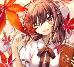1girl ;d autumn_leaves bangs black_neckwear black_ribbon blurry blurry_background blush book brown_hair collared_shirt depth_of_field eyebrows_visible_through_hair falling_leaves fuupu gem hat head_tilt highres holding holding_book holding_leaf leaf looking_at_viewer medium_hair neck_ribbon one_eye_closed open_book open_mouth red_eyes ribbon ribbon-trimmed_sleeves ribbon_trim shameimaru_aya shirt short_sleeves smile solo touhou upper_body white_shirt wing_collar