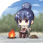 1girl bangs black_legwear blue_hair blue_sky blush book boots brown_footwear brown_skirt campfire chibi closed_mouth clouds commentary_request day eyebrows_visible_through_hair firewood hair_between_eyes hair_bun holding holding_book long_sleeves outdoors pantyhose reading shachoo. shima_rin sitting skirt sky solo trembling violet_eyes wind yurucamp