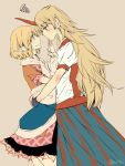2girls atoki blush brown_shirt commentary_request covering_another's_mouth face-to-face finger_to_another's_mouth from_side green_eyes highres horn hoshiguma_yuugi hug long_hair long_skirt looking_at_another mizuhashi_parsee multiple_girls pointy_ears red_eyes shirt short_hair short_sleeves skirt squiggle tan_background touhou twitter_username white_shirt yuri