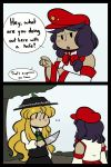 2girls 2koma :o blonde_hair blush_stickers bow chibi collared_shirt comic dark_skin detached_sleeves dolls_in_pseudo_paradise english fedora hair_bow hat height_difference jacket_girl_(dipp) jitome juliet_sleeves knife label_girl_(dipp) long_sleeves multiple_girls pointing puffy_sleeves purple_hair robin_(unlimited_world) shirt side_ponytail solid_oval_eyes touhou tree vest
