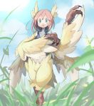 1girl 41n39 blue_eyes blush claws feathered_wings feathers harpy head_feathers head_wings highres monster_girl open_mouth original pink_hair short_hair solo surprised tank_top winged_arms wings yellow_feathers