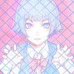 blue_eyes blue_hair blue_vest bow bowtie collared_shirt copyright_request fence hands_up ilya_kuvshinov lips looking_at_viewer parted_lips pink_background pink_neckwear shirt short_hair simple_background sketch smile upper_body vest white_shirt wing_collar