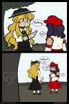 2girls 2koma :o blonde_hair blush_stickers bow chibi collared_shirt comic dark_skin detached_sleeves dolls_in_pseudo_paradise english fedora hair_bow hat height_difference jacket_girl_(dipp) jitome juliet_sleeves knife label_girl_(dipp) long_sleeves multiple_girls pointing puffy_sleeves purple_hair robin_(unlimited_world) shirt side_ponytail solid_oval_eyes touhou tree vest yuri