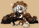 1girl :3 :d blush bondrewd boots brown_background capelet character_doll character_request chibi dress eyebrows_visible_through_hair gloves heart looking_at_viewer made_in_abyss meinya_(made_in_abyss) monochrome one_eye_closed open_mouth pouch prushka sakurazawa_izumi sepia short_hair simple_background sitting smile solo