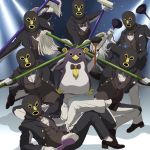 (o)_(o) 6+boys bird black_footwear black_jacket black_pants blue_neckwear bow bowtie brown_vest butler eclair_ecleir_eicler gloves hand_up holding jacket k-ta long_sleeves looking_at_viewer mask mop multiple_boys overlord_(maruyama) pants penguin shirt shoes sitting standing vest white_gloves white_shirt
