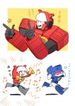 2boys 2koma 80s ^_^ akane_477 anger_vein angry autobot blaster_(transformers) blue_eyes cannon closed_eyes comic decepticon headphones multiple_boys music no_humans oldschool open_mouth personification red_eyes simple_background soundwave speaker standing transformers translation_request