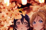 2girls ayase_eli bangs blonde_hair blue_eyes blue_hair blush cherry_blossoms close-up commentary_request flower hair_between_eyes highres long_hair love_live! love_live!_school_idol_project multiple_girls open_mouth ponytail signature sonoda_umi suito yellow_eyes