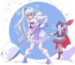 2girls blue_eyes boots grey_eyes iesupa multiple_girls redhead ruby_rose rwby scar scar_across_eye scarf shovel shoveling smile snow weiss_schnee white_hair worktool