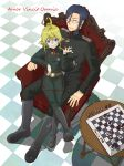 1boy 1girl absurdres chess_piece chessboard erich_von_rerugen glasses highres military military_uniform tanya_degurechaff tile_floor tiles uniform youjo_senki