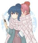 2girls :d ^_^ beanie blue_hair blush closed_eyes closed_mouth eyebrows_visible_through_hair frown hair_between_eyes hair_bun hat head_tilt holding holding_knife hug hug_from_behind kagamihara_nadeshiko knife morikawa_masato multiple_girls open_mouth pink_hair shared_blanket shima_rin sleeves_past_wrists smile sparkle sweatdrop white_background yurucamp