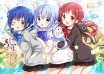 1girl :d ;d animal_hood artist_name black_skirt blue_eyes blue_hair bow bunny_hood bunny_tail chestnut_mouth commentary_request copyright_name fake_tail gochuumon_wa_usagi_desu_ka? hair_bobbles hair_ornament hand_in_pocket hand_up hood hood_down koi_(koisan) long_hair looking_at_viewer one_eye_closed open_mouth red_eyes redhead short_hair short_twintails skirt smile solo star starry_background tail twintails x_hair_ornament yellow_eyes