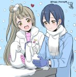 2girls bangs blue_gloves blue_hair blush closed_mouth commentary_request gloves grey_hair hair_between_eyes kisaragi_mizu long_hair love_live! love_live!_school_idol_project minami_kotori mittens multiple_girls one_side_up open_mouth pink_gloves scarf simple_background smile snow snowing snowman sonoda_umi winter winter_clothes yellow_eyes