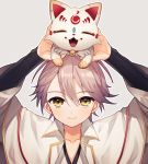 ^_^ abandon_ranka androgynous animal animal_on_head cape closed_eyes fangs fox katsugeki/touken_ranbu konnosuke on_head open_mouth saniwa_(katsugeki/touken_ranbu) saniwa_(touken_ranbu) smile touken_ranbu white_hair yellow_eyes