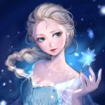 1girl blonde_hair blue_eyes braid disney elsa_(frozen) frozen_(disney) hair_over_shoulder lma long_hair parted_lips single_braid snowflakes solo