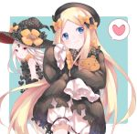 2girls abigail_williams_(fate/grand_order) bangs black_bow black_dress black_hat blonde_hair bloomers blue_eyes blush bow butterfly cai_li closed_mouth commentary_request dress dual_persona eyebrows_visible_through_hair fate/grand_order fate_(series) hair_bow hat hat_bow heart long_hair long_sleeves looking_at_viewer looking_to_the_side multiple_girls object_hug orange_bow pale_skin parted_bangs polka_dot polka_dot_bow polka_dot_hat red_eyes revealing_clothes sleeves_past_fingers sleeves_past_wrists smile spoken_heart stuffed_animal stuffed_toy teddy_bear underwear very_long_hair white_bloomers white_hair witch_hat