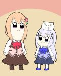 2girls :3 angora_rabbit animal bangs bkub_(style) blue_footwear blue_neckwear blue_skirt blue_vest boots bow bowtie brown_footwear brown_legwear clenched_teeth closed_mouth commentary_request dark_skin eyebrows_visible_through_hair gochuumon_wa_usagi_desu_ka? hair_between_eyes hair_ornament hoto_cocoa kafuu_chino light_brown_hair long_hair long_sleeves massala multiple_girls pantyhose pink_neckwear pink_vest poptepipic rabbit shirt skirt standing teeth tippy_(gochiusa) very_long_hair vest violet_eyes white_legwear white_shirt x_hair_ornament