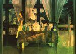 1girl black_eyes black_hair curtains gemi hand_on_own_chest inside looking_to_the_side original short_hair skirt solo standing table teapot tile_floor tiles vase window