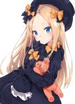 1girl :t abigail_williams_(fate/grand_order) bangs black_bow black_dress black_hat blonde_hair blue_eyes blush bow butterfly closed_mouth dress eyebrows_visible_through_hair fate/grand_order fate_(series) forehead hair_bow hat head_tilt highres long_hair long_sleeves looking_at_viewer minikon object_hug orange_bow parted_bangs polka_dot polka_dot_bow pout simple_background sleeves_past_fingers sleeves_past_wrists solo stuffed_animal stuffed_toy teddy_bear very_long_hair white_background