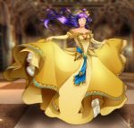 1girl bare_shoulders belt blue_ribbon blurry blurry_background bow bridal_gauntlets closed_eyes closed_mouth dancing dress faris_scherwiz final_fantasy final_fantasy_v floating_hair full_body gown hair_bow high_ponytail highres long_hair motion_blur outstretched_arms ponytail princess princesssarisa purple_hair ribbon sarisa_highwind_tycoon solo spread_arms very_long_hair yellow_bow yellow_dress