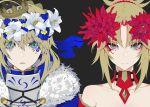 2girls ahoge aqua_eyes armor artoria_pendragon_(all) blonde_hair crown fate/grand_order fate_(series) flower green_eyes hair_bun hair_flower hair_ornament head_wreath long_hair looking_at_viewer mordred_(fate) mordred_(fate)_(all) multiple_girls ponytail ram_(ramlabo) saber