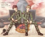 2boys a-chako ace_combat ace_combat_zero aircraft airplane blonde_hair brown_eyes brown_hair cipher_(ace_combat) clouds cloudy_sky f-15_eagle fighter_jet flag galm_team helmet jet larry_foulke legs_crossed military military_uniform military_vehicle multiple_boys pilot pilot_helmet pilot_suit red_eyes red_sky short_hair sitting sky smile smug uniform