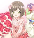 1girl :3 bag bangs brown_hair carpet commentary_request eyebrows_visible_through_hair fang flower gift green_eyes hair_flower hair_ornament idolmaster idolmaster_cinderella_girls jewelry kuroi_mimei lace lace-trimmed_skirt long_sleeves looking_at_viewer maekawa_miku necklace open_mouth oversized_object pink_sweater print_skirt red_skirt short_hair sitting skirt smile socks solo sweater turtleneck v_arms wariza white_legwear