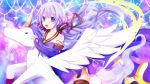 1girl :d alicorn animal azur_lane bangs bare_shoulders black_legwear blush collarbone commentary_request cosplay detached_sleeves dress feathered_wings hair_between_eyes halterneck inuro_neko_(kuro-nyan) long_hair long_sleeves looking_at_viewer open_mouth purple_dress purple_hair riding sidelocks sleeves_past_wrists smile solo star thigh-highs unicorn_(azur_lane) very_long_hair violet_eyes white_wings wings xingchen xingchen_(cosplay)