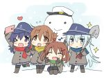 4girls akatsuki_(kantai_collection) anchor_symbol black_gloves black_hair black_hat black_legwear blue_eyes blue_scarf brown_coat brown_eyes brown_hair cellphone chibi coat flat_cap full_body gloves green_scarf hat heart hibiki_(kantai_collection) hizuki_yayoi ikazuchi_(kantai_collection) inazuma_(kantai_collection) kantai_collection long_hair multiple_girls phone red_scarf scarf short_hair shovel silver_hair snowman sparkle v violet_eyes worktool yellow_scarf