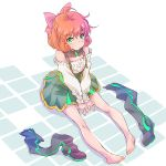 1girl ahoge bare_shoulders barefoot boots boots_removed curly_hair detached_sleeves feet freckles green_eyes hair_between_eyes hair_ribbon highres iesupa looking_at_viewer orange_hair penny_polendina pink_ribbon ribbon rwby shoes_removed short_hair sketch solo suspenders thigh-highs thigh_boots v_arms wrist_cuffs