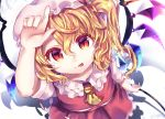 1girl ascot blonde_hair closed_mouth dated flandre_scarlet from_above gunjou_row hair_between_eyes hand_up holding laevatein long_hair looking_at_viewer miniskirt one_side_up red_eyes red_skirt short_sleeves skirt skirt_set slit_pupils smile solo tongue tongue_out touhou vest white_background wings yellow_neckwear