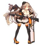 1girl :o ahoge armpit_peek bag bangs belt black_hat black_legwear blush body_writing breasts buckle character_name cleavage cross cross_necklace elbow_rest floating_hair full_body girls_frontline gun hair_between_eyes hair_ornament hairclip hanging_breasts hat high_heels holding holding_gun holding_weapon ithaca_m37 ithaca_m37_(girls_frontline) jacket jewelry large_breasts long_hair looking_at_viewer necklace off_shoulder official_art open_clothes open_jacket open_mouth paw_print_pattern platform_footwear platform_heels pleated_skirt pump_action rain_lan red_eyes shield shotgun shotgun_shells sidelocks skirt solo standing strap stuffed_animal stuffed_toy teddy_bear thigh-highs unzipped weapon zipper zipper_pull_tab