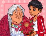 closed_eyes coco_(disney) disney flower grandmother_and_grandson happy lucleon mama_coco miguel_rivera old_woman pixar wrinkles